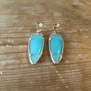 Kendra Scott Gold and Aqua earrings